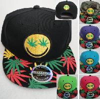 Snap Back Flat Bill Hat[Smiley Face/Leaf Eyes] Screen Print Bill